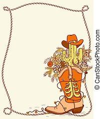 communie, cowboy, kleur, tekst, laars, illustratie, hand, getrokken, .vector, kerstmis