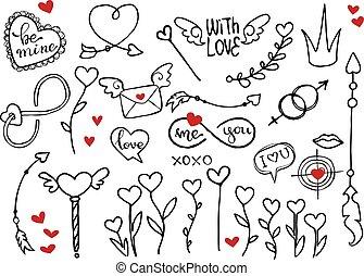 communie, doodle, valentines, vector, ruige , dag
