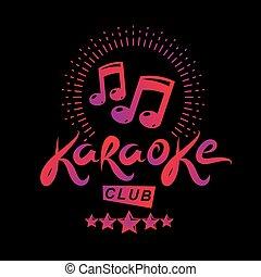 communie, embleem, opmerkingen, club, gecreëerde, dekking, karaoke, vector, ontwerp, flyers, gebruik, muzikalisch, design.
