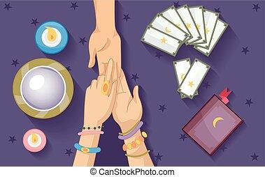 communie, fortuin, zigeuner, palm, het vertellen, lezende