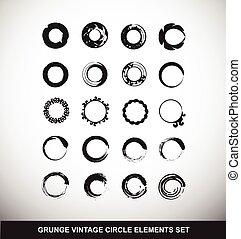 communie, grunge, logo, set, cirkel, ouderwetse
