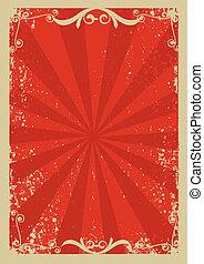 communie, grunge, .retro, decorationl, beeld, achtergrond, tekst, rood