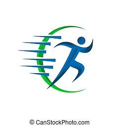 communie, illustraties, rennende , vector, ontwerp, man, abstract, logo