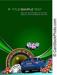 communie, image., auto, casino, illustratie, vector