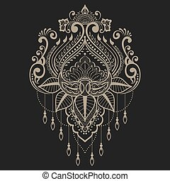 communie, indiër, abstract, henna, vector, ontwerp, mehndi, floral, style., element., illustration.
