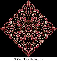 communie, indiër, abstract, vector, ontwerp, arabesk, mehndi, floral, style., element., illustration.