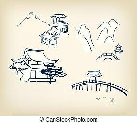 communie, japanner, illustratie, traditionele , vector, ontwerp, tempel