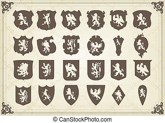 communie, jas, koninklijk, armen, leeuw, ouderwetse