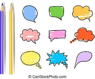 communie, kleurrijke, set, boxes., verzameling, vector, ontwerp, potloden, toespraak, bellen, komisch