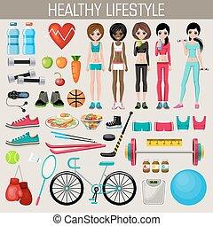 communie, levensstijl, set, gezonde