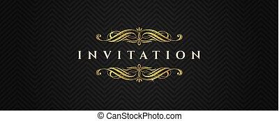 communie, mal, goud, model, -, illustratie, flourishes, vector, black , chevron, uitnodiging, schitteren