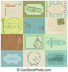 communie, markeringen, ouderwetse , -, papier, ontwerp, tijd, plakboek