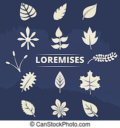 communie, natuur, bladeren, -, verzameling, silhouettes, set, gras