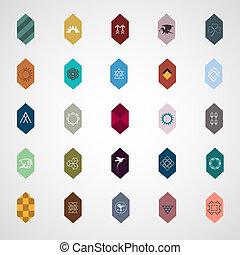 communie, ontwerp, iconen