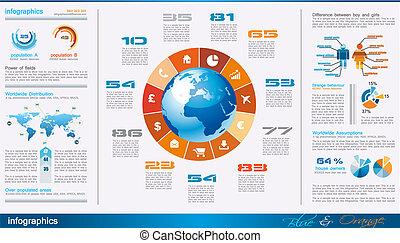 communie, ontwerp, pagina, partij, infographics