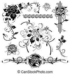 communie, ontwerp, rozen