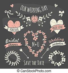 communie, ontwerp, verzameling, trouwfeest
