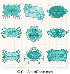 communie, oud, markeringen, ouderwetse , -, vector, ontwerp, lijstjes, plakboek