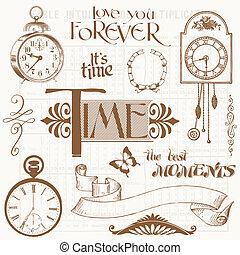 communie, ouderwetse , -, clocks, ontwerp, tijd, plakboek