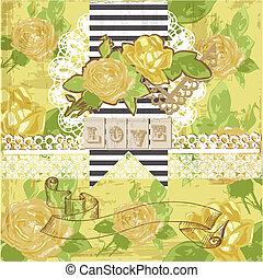 communie, ouderwetse , -, gele rozen, vector, ontwerp, plakboek