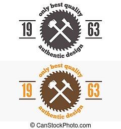 communie, ouderwetse , logotype, houtbewerkers, etiket,...