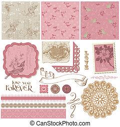 communie, ouderwetse , -, ontwerp, plakboek, bloemen, vogels