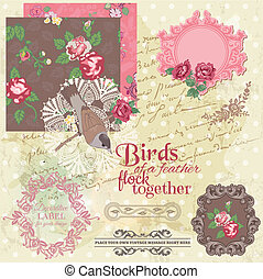 communie, ouderwetse , -, vector, ontwerp, plakboek, bloemen, birds-