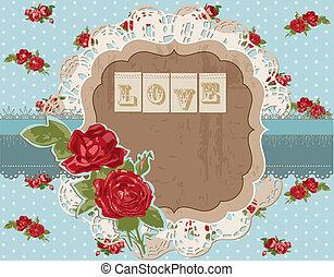 communie, ouderwetse , -, vector, ontwerp, plakboek, bloemen, pagina
