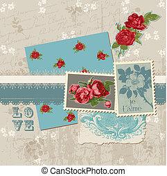 communie, ouderwetse , -, vector, ontwerp, plakboek, bloemen