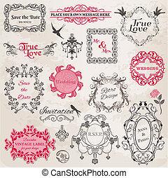 communie, ouderwetse , -, vector, ontwerp, trouwfeest, lijstjes