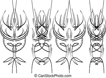 communie, pinstripe, vier, zwarte achtergrond, witte , ontwerp