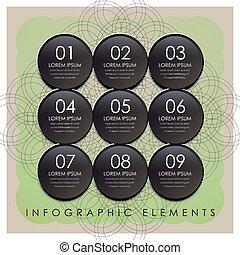 communie, plastic, infographic, zwarte cirkel, etiket
