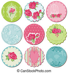 communie, roos, -, tagd, vector, ontwerp, plakboek, bloemen