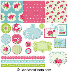 communie, roos, -, vector, ontwerp, plakboek, bloemen