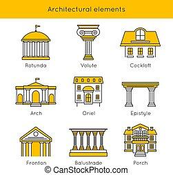 communie, set, architecturaal, pictogram