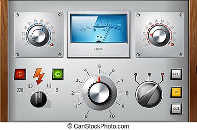 communie, set, controles, vector, interface, analoog