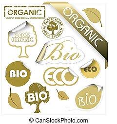 communie, set, eco, bio, vector, organisch