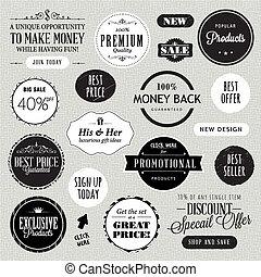 communie, set, etiketten