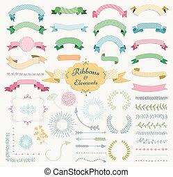 communie, set, kleurrijke, hand, vector, ontwerp, getrokken, lint