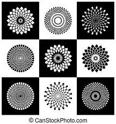 communie, set., patterns., abstract, cirkel, ontwerp, geometrisch, ronde