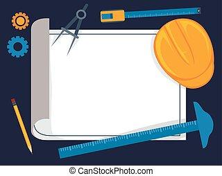 communie, techniek, papier, architectuur, leeg, witte , gereedschap, tekening