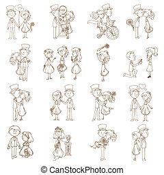 communie, trouwfeest, -, vector, ontwerp, plakboek, uitnodiging, doodles