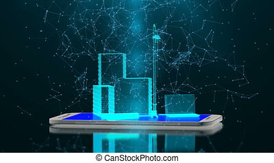 communie, van, bouwsector, op, de, smartphone, display, de,...