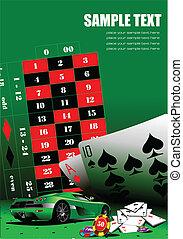 communie, ve, casino, tafel., groene