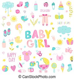 communie, -, vector, ontwerp, baby, plakboek, meisje