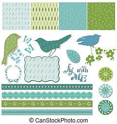 communie, vector, ontwerp, floral, plakboek, vogels