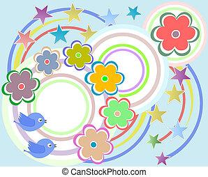 communie, -, vector, plakboek, bloemen, vogels