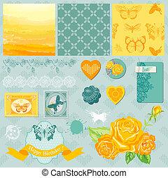 communie, -, vlinder, thema, vector, ontwerp, plakboek, ombre
