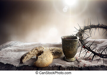 Communion And Passion - Unleavened Bread Chalice Of Wine And...