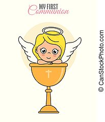 Communion card girl. Angel girl with chalice